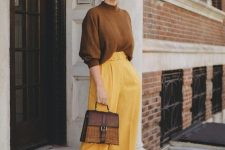 19 a bold fall outfit with a mustard jumper, mellow yellow culottes, mustard suede shoes and a two tone bag