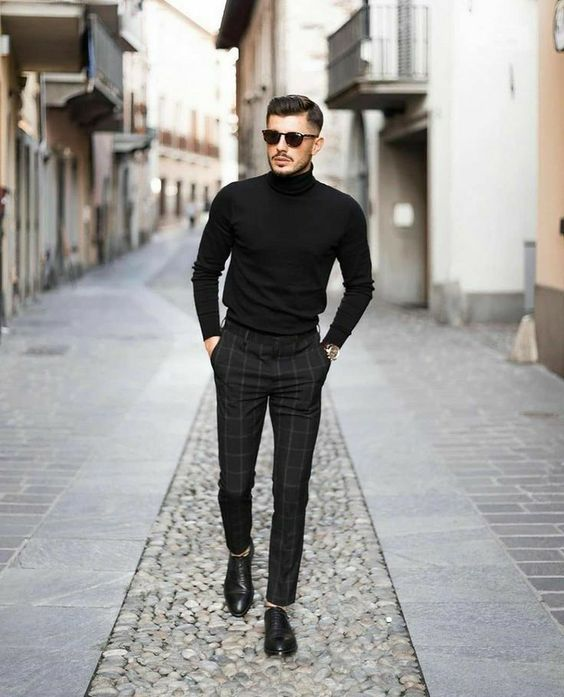 an elegant work outfit with a black turtleneck, black plaid trosuers and black shoes always works for fall