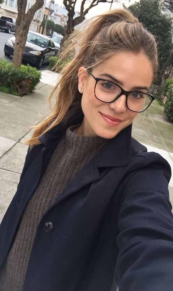 classic square eyeglasses in a thin black frame are always a good idea that matches most fo face shapes