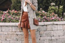 23 a white t-shirt, an amber leather mini skirt, white boots, a grey plaid blazer and a brown mini bag