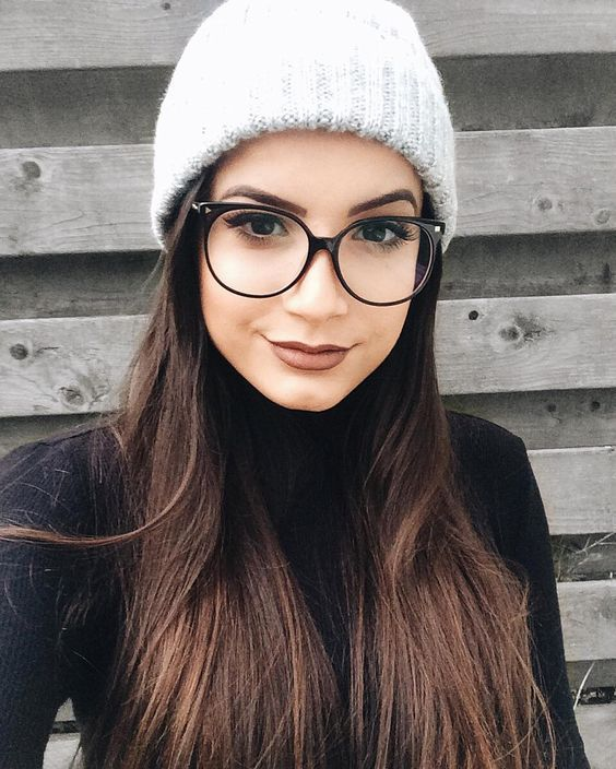 oversized round eyeglasses in a thin black frame is a cool alternative to those in a black metal frame and they make a bolder accent