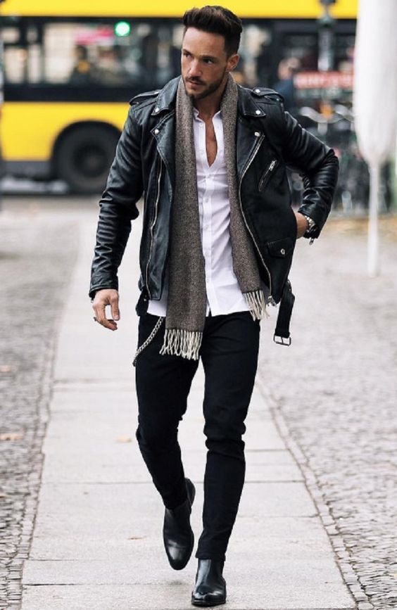 an everyday look with black jeans, a black leather jacket, black boots, a white shirt, a grey scarf is cool