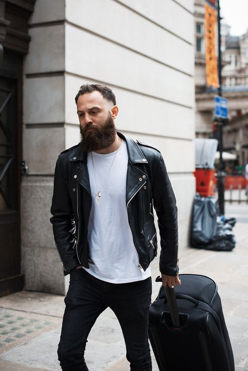 a white t-shirt, black jeans, a black leather moto jacket for a super stylish and cool look