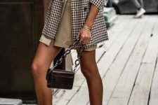 31 a lovely fall outfit with a white tee, a tan wrap mini skirt, a plaid oversized blazer, black cutout booties and a burgundy bag