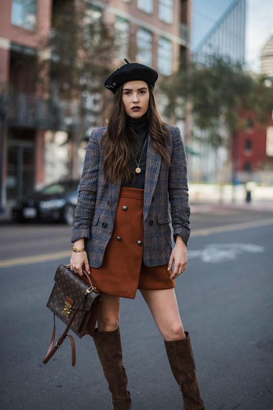 a gorgeous fall outfit with a black turtleneck, a rust-colored wrap mini, a grey plaid blazer, brown boots, a brown bag and a beret