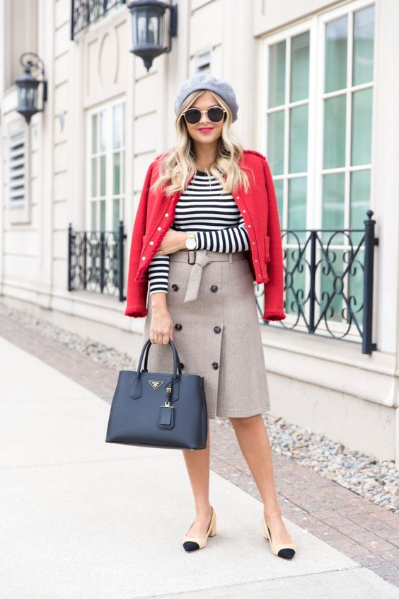 a fall work look with a striped long sleeve tee, a grey button up skirt, two tone shoes, a red jacket, a grey beret and a black bag