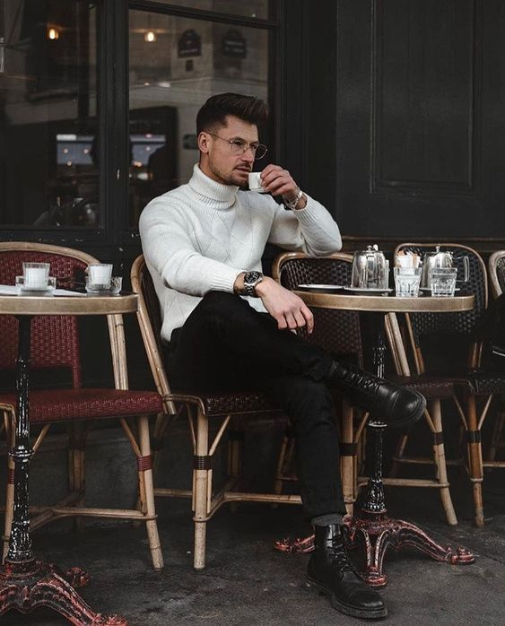 a white sweater, black jeans, black boots will help you compose a very simple and comfrotable outfit