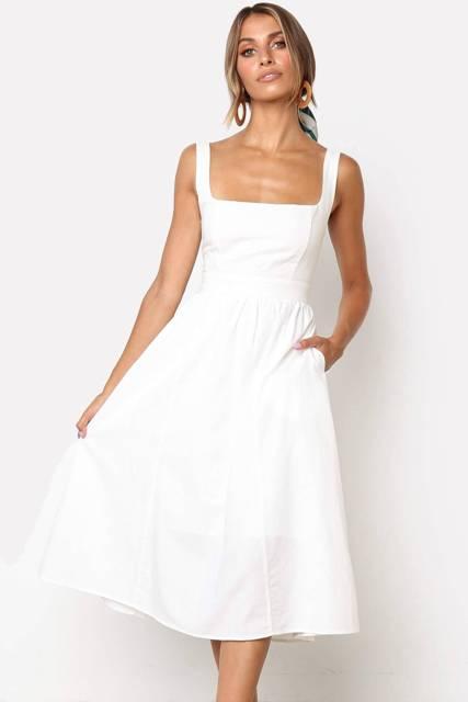 White linen square neckline sleeveless midi dress