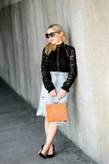 With black lace shirt, brown bag and black pumps