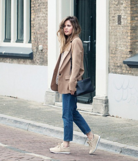 With brown loose blazer, cropped jeans and black leather bag