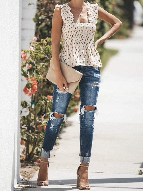 With distressed jeans, beige suede clutch and ankle strap sandals