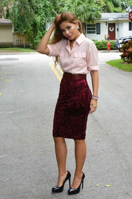 With marsala knee-length skirt and black patent leather shoes