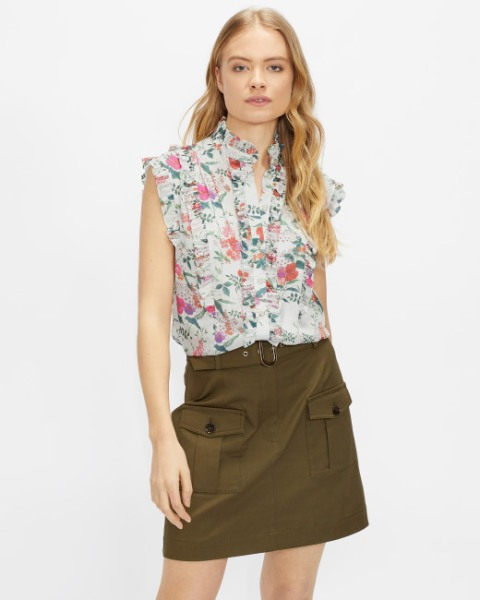 With olive green mini skirt