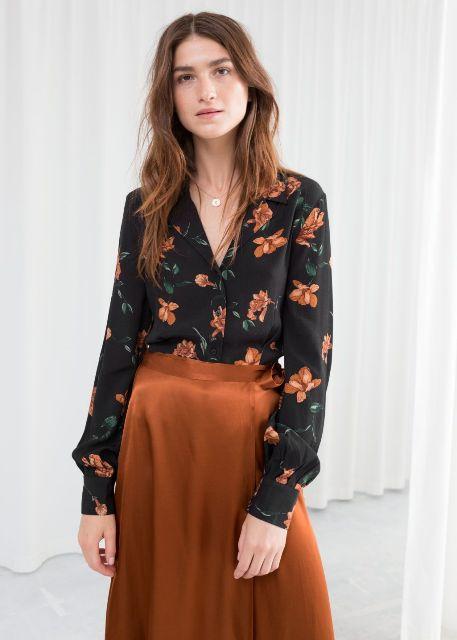 With orange satin skirt
