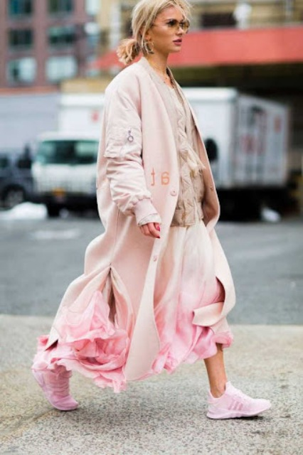 With pale pink coat, floral printed skirt and beige blouse