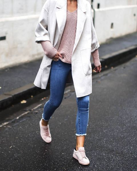 With pale pink sweater, cropped jeans and white cardigan