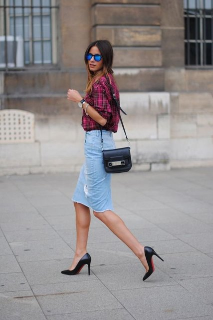 With plaid shirt, black leather bag and black pumps