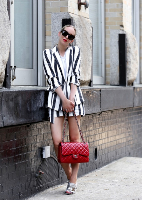 With red leather bag, silver mules and white shirt
