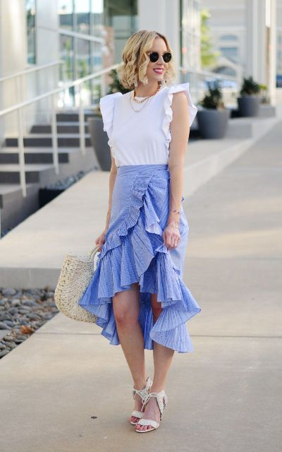 With ruffled wrap skirt, straw bag and white sandals