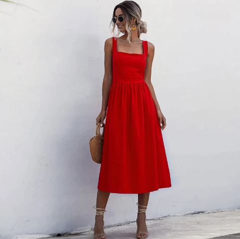 With straw bag and lace up sandals