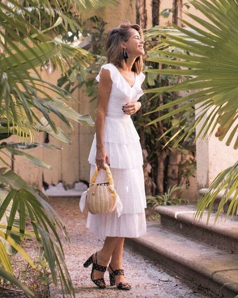 With straw bag and polka dot sandals