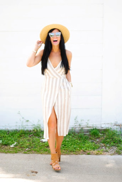 With straw hat, mirrored sunglasses and brown heeled shoes