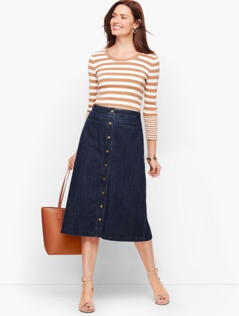 With striped shirt, brown tote bag and beige ankle strap shoes