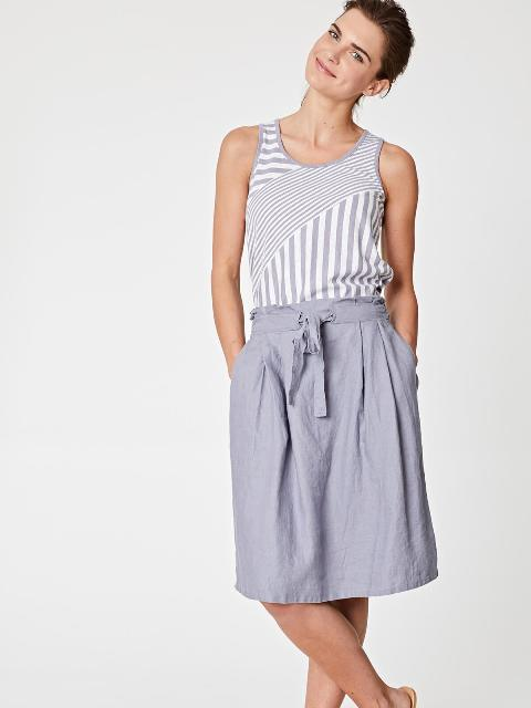 With striped sleeveless top