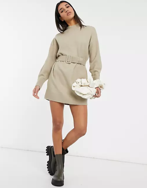 With white bag and gray platform boots