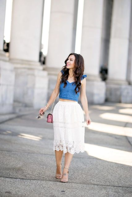 With white lace high-waisted A-line midi skirt, pink chain strap mini bag and beige shoes