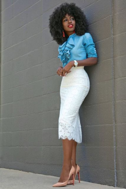 With white lace midi skirt and beige patent leather pumps