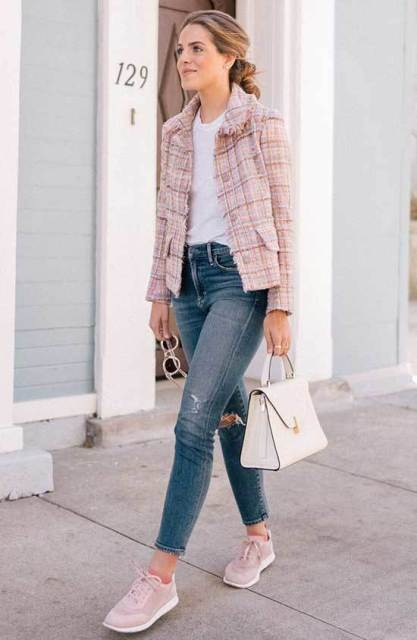 With white t-shirt, distressed jeans, white bag and checked tweed blazer