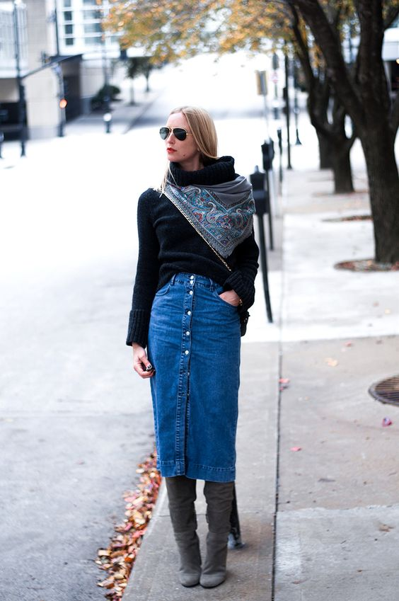 a black sweater, a scarf, a blue button up denim midi, grey boots for a fall or fall to winter look