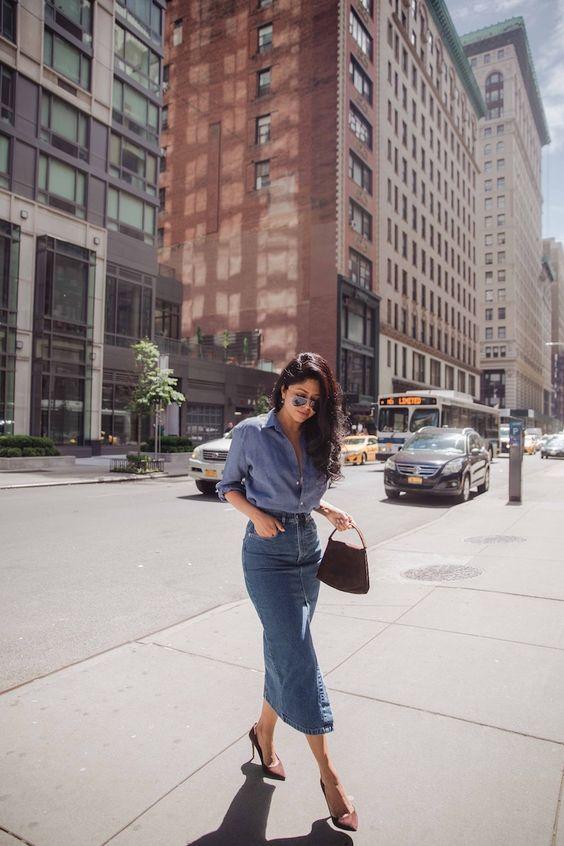 a blue shirt, a blue denim midi pencil skirt, burgundy pumpkins and a matching bag for a bold and stylish look