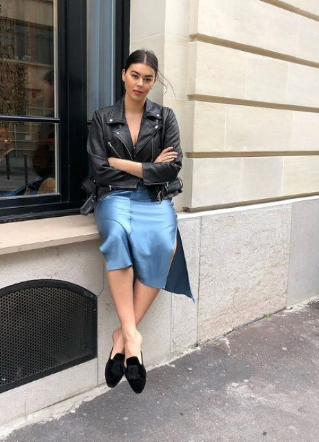 a blue slip midi dress, a black leather jacket, black velvet mules are a cool and easy look