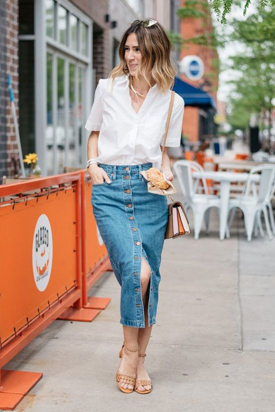a white linen shirt, a blue denim button up midi, nude ankle strap heels and a retro bag for summer