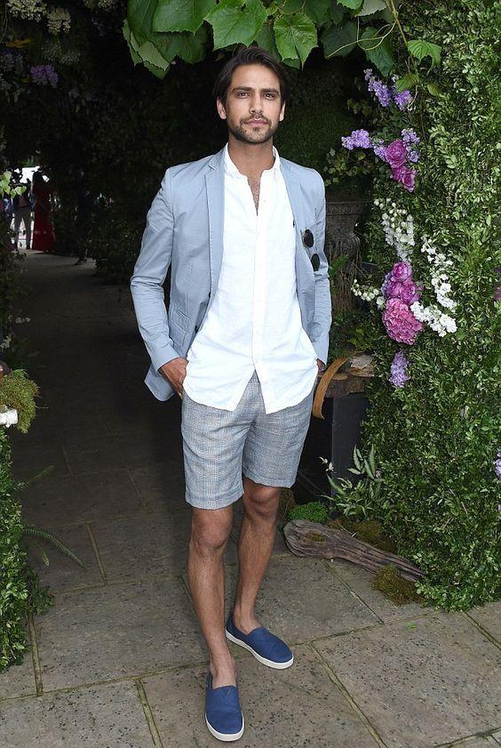a white shirt, a light blue blazer, grey linen shirts and bold blue slipons for a summer work look