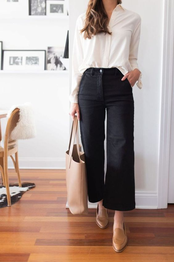 a white shirt, black culottes, tan loafers and a creamy tote for a very simple and timeless work look