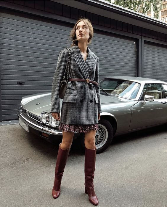 a burgundy printed skirt, a grey plaid oversized blazer with a belt, a grey bag and knee high burgundy boots for the fall