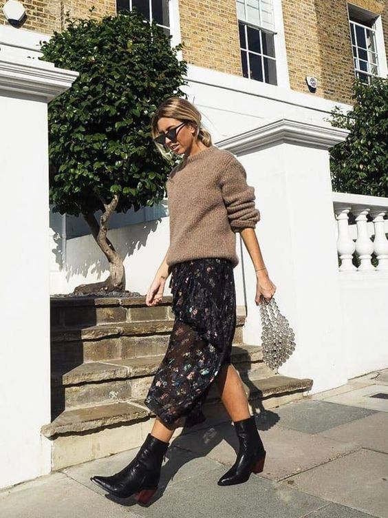 a lovely feminine fall outfit with a tan oversized sweater, a black floral midi skirt, black cowboy boots and an embellished bag