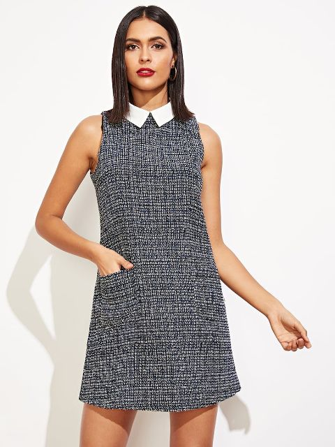 A gray tweed sleeveless mini dress