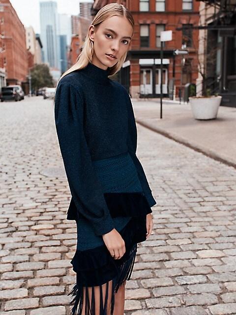 With black and navy blue fringe skirt
