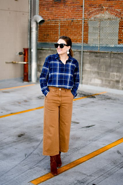 With blue and white plaid shirt and marsala velvet boots