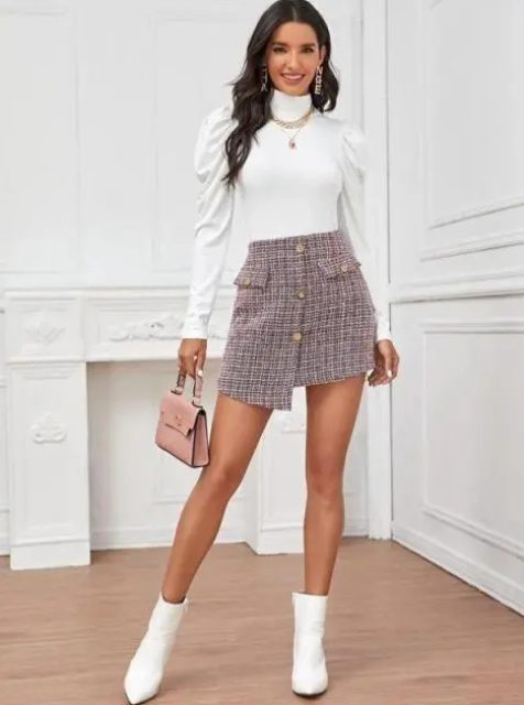 With button front mini skirt, pale pink bag and white ankle boots