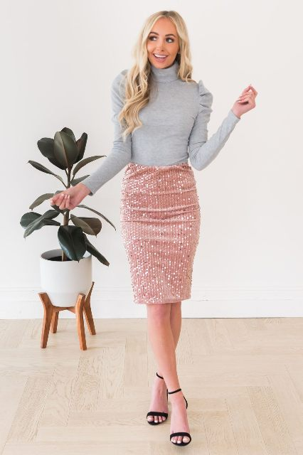 With pale pink pencil skirt and black sandals