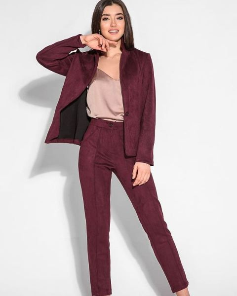 With pale pink satin top and marsala suede blazer
