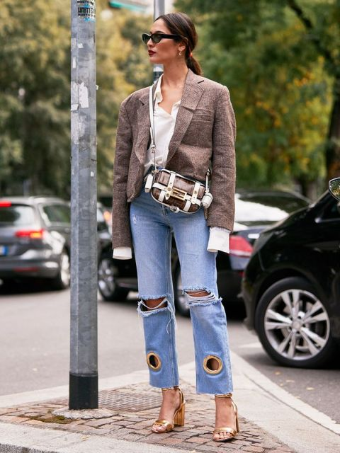 With white long sleeve shirt, blazer, brown and white bag and golden high heels