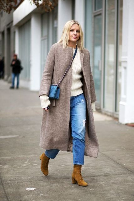 With white sweater, collarless midi coat, blue chain strap bag and mustard yellow suede boots