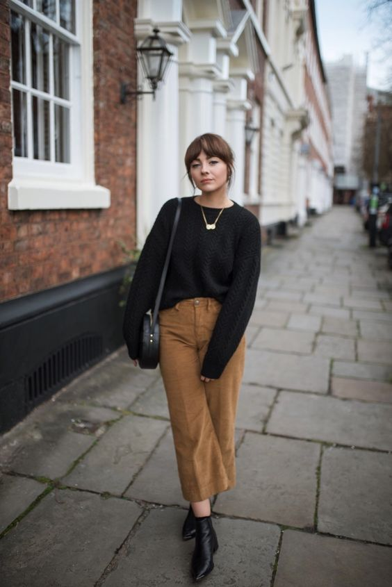 a black jumper, a statement necklace, tan cropped corduroy trousers, a black round bag and boots