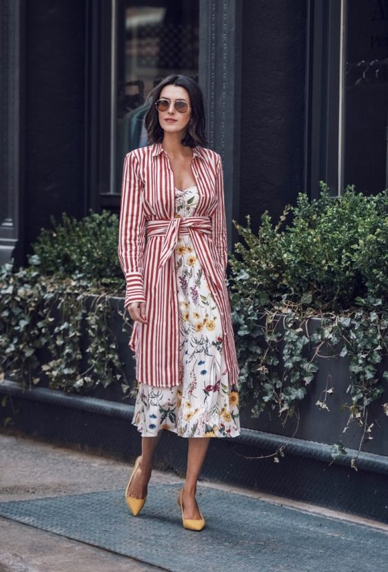 a floral midi dress, a red striped shirtdress, yellow shoes for a catchy and pretty spring look
